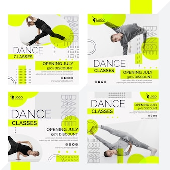 Instagram-postverzameling voor danslessen met mannelijke artiest