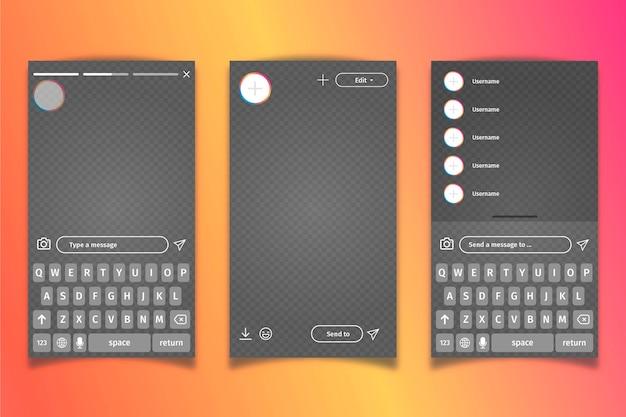 Instagram profiel interface sjabloon en toetsenbord