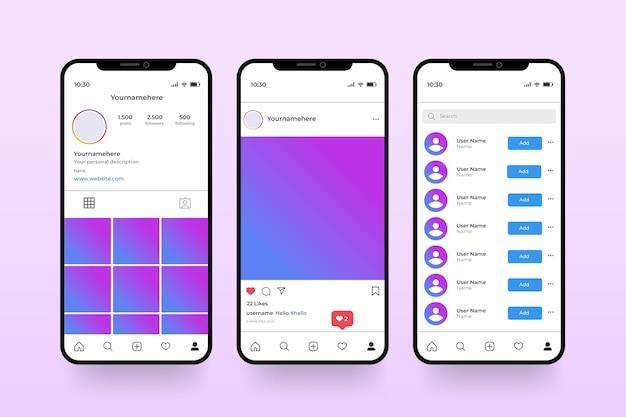 Instagram profiel interface sjabloon met mobiele telefoon