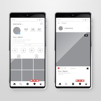 Instagram profielinterface met mobiele telefoon