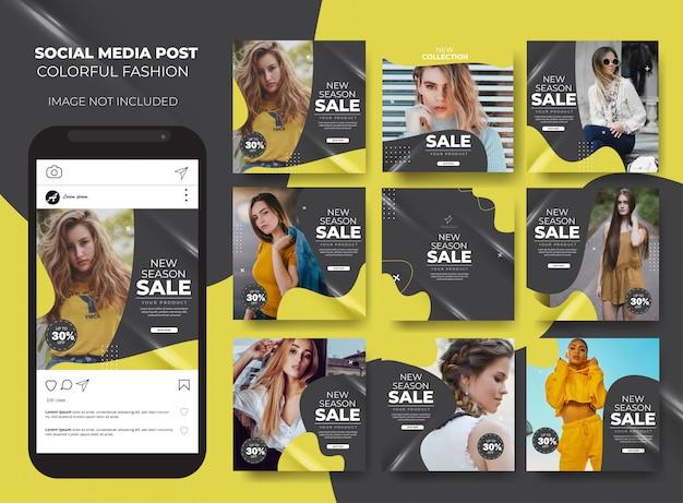 Instagram set mode verkoop vloeibare sjabloon postfeed