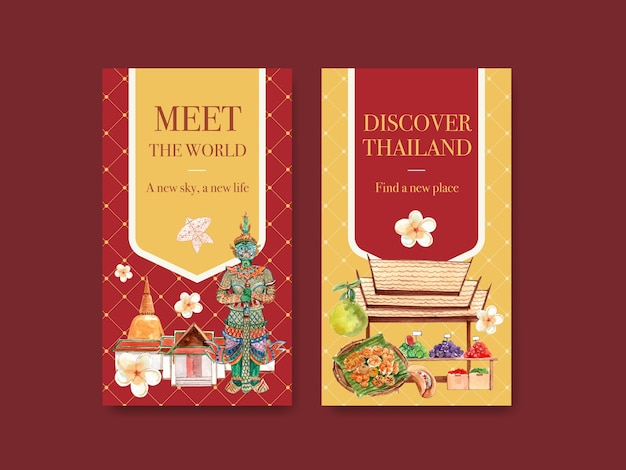 Instagram-sjabloon ingesteld met thailand reisconcept voor sociale media in aquarel stijl