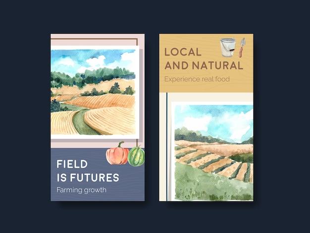 Instagram sjabloon met boerderij biologische conceptontwerp aquarel illustratie.