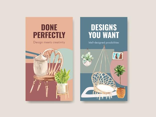 Instagram-sjabloon met boho-meubelconceptontwerp voor sociale media en online marketing aquarel illustratie