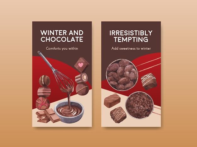 Instagram-sjabloon met chocolade winter conceptontwerp voor online marketing en sociale media aquarel vectorillustratie