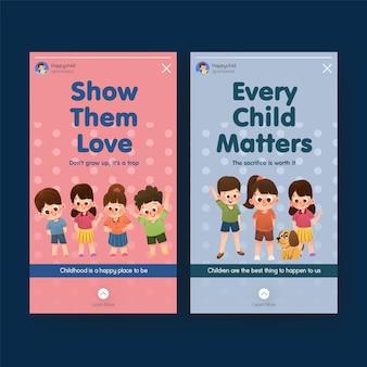 Instagram-sjabloon met conceptontwerp voor kinderdag