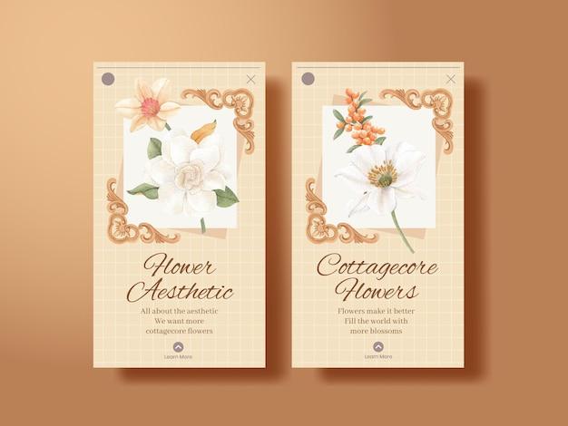 Instagram-sjabloon met cottagecore-bloemenconcept, aquarelstijl