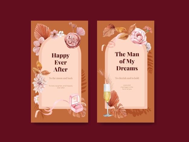 Instagram-sjabloon met geluk bruiloft concept in aquarel stijl Premium Vector