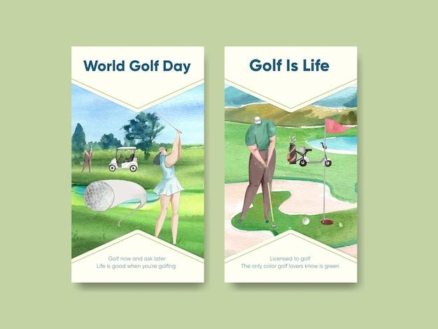 Instagram-sjabloon met golfliefhebber in aquarelstijl