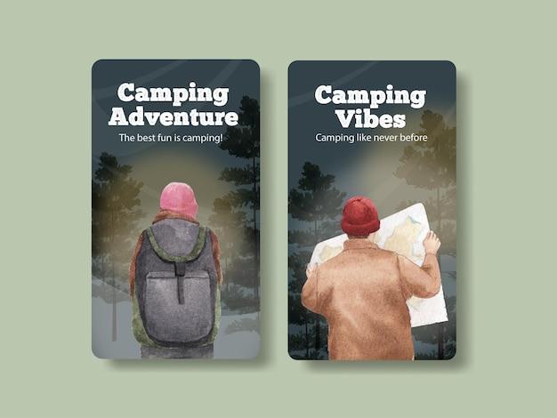 Instagram-sjabloon met happy camper-concept