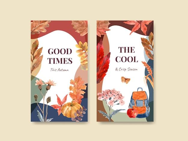 Instagram-sjabloon met herfst dagelijks conceptontwerp voor digitale marketing en aquarel van sociale media