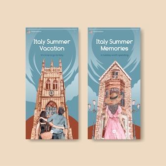 Instagram-sjabloon met het concept van de zomervakantie in italië, aquarelstijl