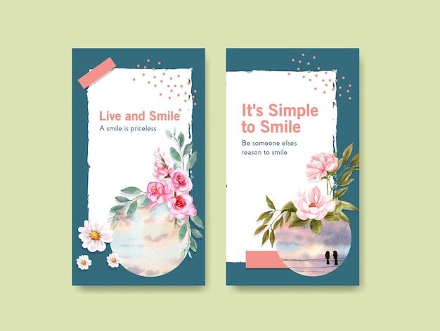 Instagram-sjabloon met het ontwerp van het bloemenboeket voor het concept van de wereldglimlachdag voor sociale media en communautaire waterverf vectorillustraion.
