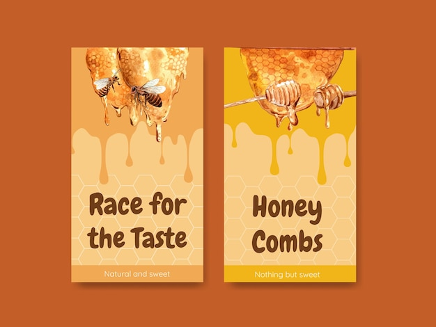Instagram-sjabloon met honing voor aquarel van sociale media
