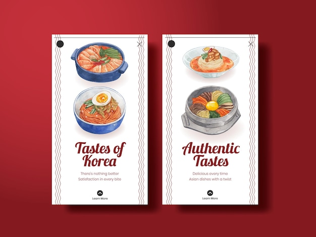 Instagram-sjabloon met koreaans voedselconcept, aquarelstijl