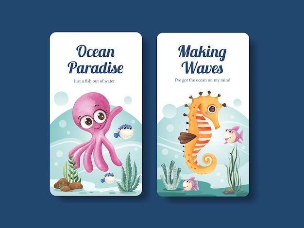 Instagram-sjabloon met oceaan opgetogen concept aquarel stijl
