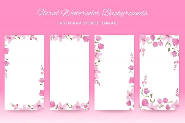Instagram sjabloon met roze bloemenwaterverf Premium Vector