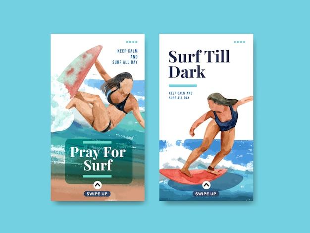 Instagram-sjabloon met surfplanken op het strand