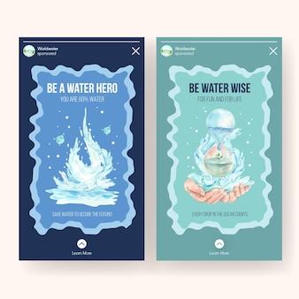 Instagram-sjabloon met wereld water dag conceptontwerp voor sociale media aquarel illustratie