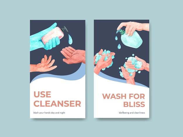 Instagram-sjabloon met wereldwijd conceptontwerp voor de handwasdag
