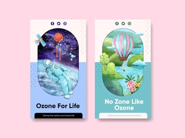 Instagram sjabloon set met wereld ozon dag concept, aquarel stijl