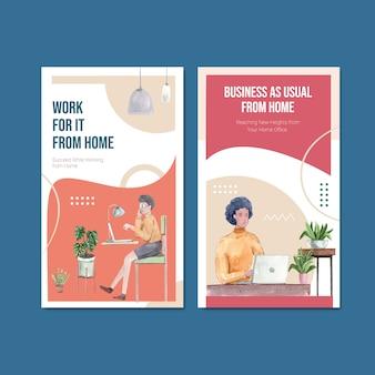 Instagram-sjabloonontwerp met mensen werkt vanuit huis. kantoor aan huis concept aquarel vectorillustratie