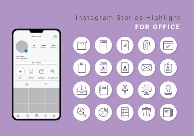 Instagram stories highlight cover voor office
