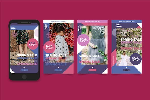 Instagram verhaalcollectie met lente verkoop concept