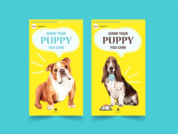 Instagram-verhaalsjablonen met honden