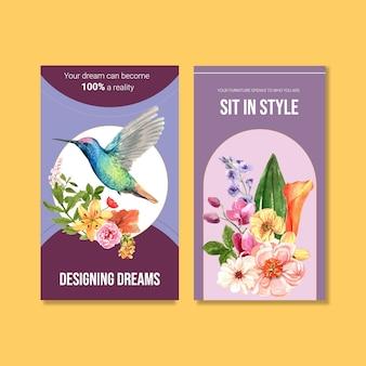 Instagram verhaalsjabloon met zomerbloem conceptontwerp