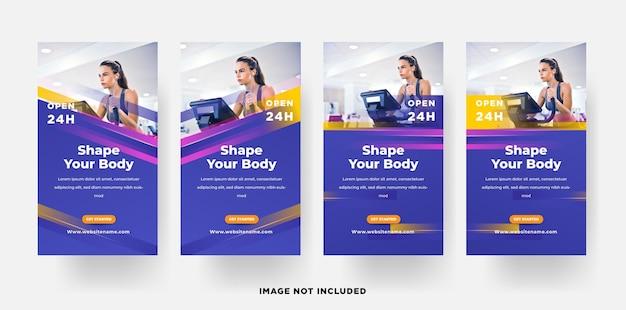 Instagram verhalen banner dames fitness sport promotie sjabloon
