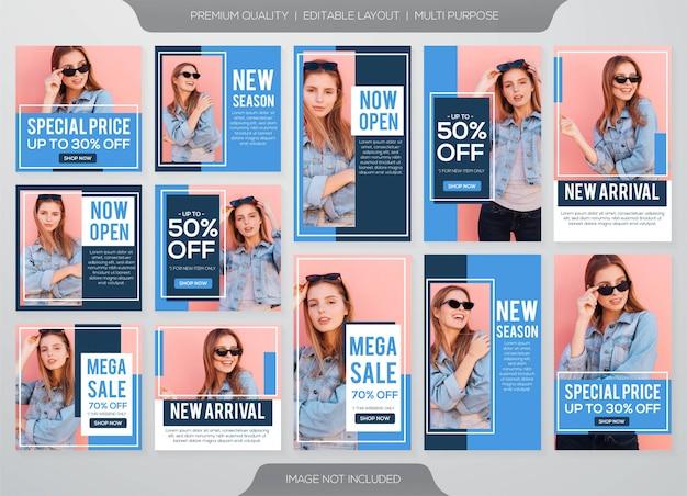 Instagram-verhalen en feed post mode verkoopsjabloon