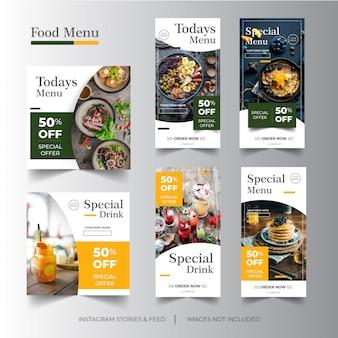 Instagram verhalen & feed eten menu