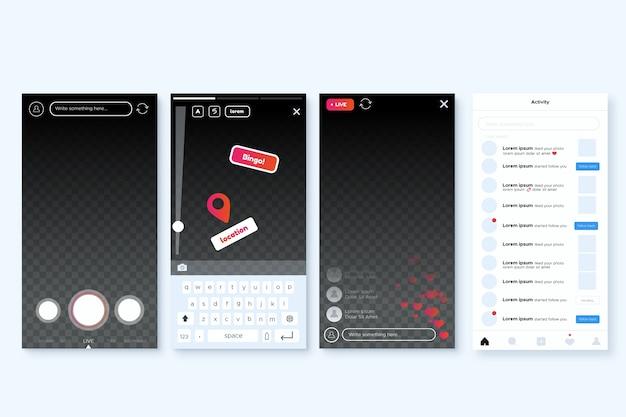Instagram verhalen interface sjabloon