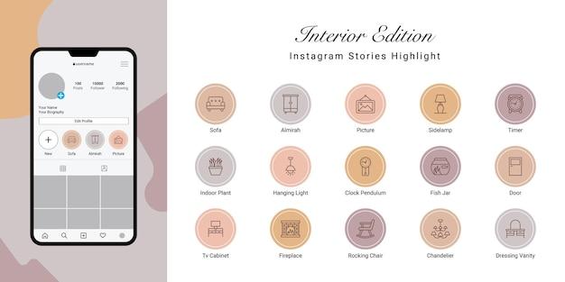Instagram-verhalen markeren omslag voor interieur