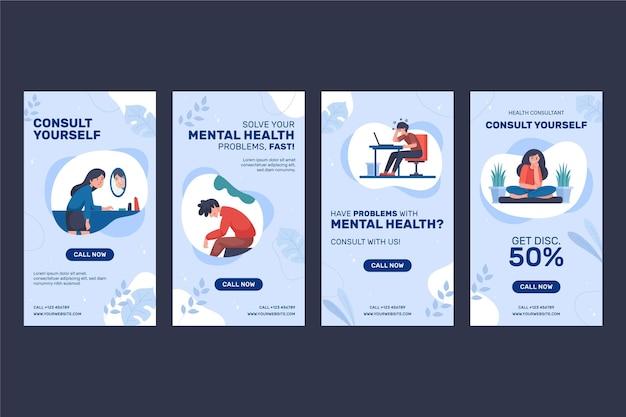 Instagram-verhalen over geestelijke gezondheid in vlakke stijl