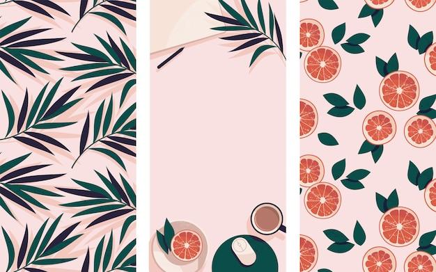 Instagram verhalen sjabloon met grapefruit en palmbladeren