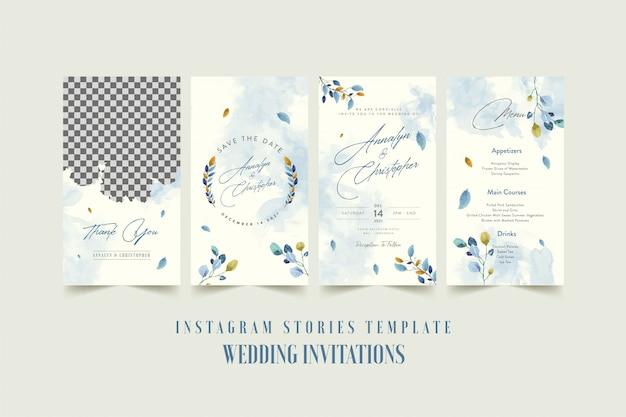 Instagram verhalen sjabloon voor bruiloft uitnodigingskaart met aquarel bloem en bladeren