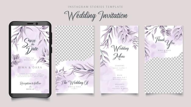 Instagramverhalenmalplaatje voor huwelijksuitnodiging met bloemenachtergrond