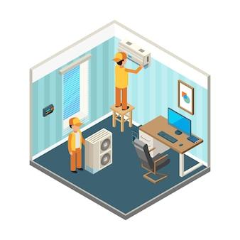 Installeer airconditioning. technici bevestigden elektrische en koelingsverwarmingssystemen op isometrische afbeeldingen van kantoorruimtes