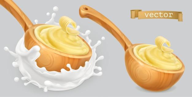 Instant aardappelpuree, met boter en melk.