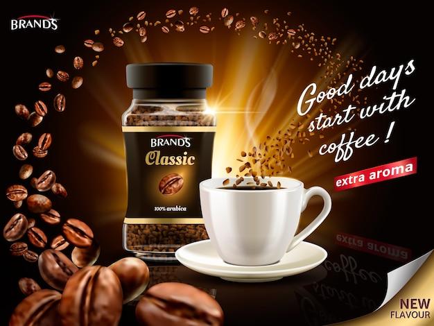 Instant arabica koffie-advertentie, omringd door talloze koffieboonelementen, illustratie
