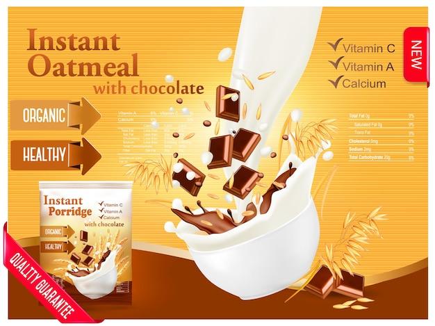 Instant havermout met chocolade advertentie concept. melk stroomt in een kom met graan en chocolade. vector.