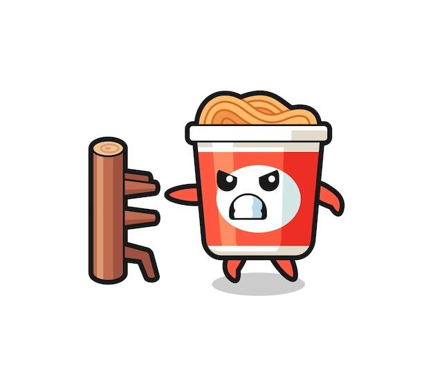 Instant noodle cartoon afbeelding als een karate-jager, schattig stijlontwerp voor t-shirt, sticker, logo-element