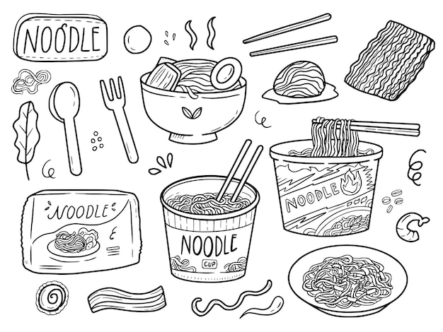 Instant noodle cup tekening schetst lijntekeningen collectie