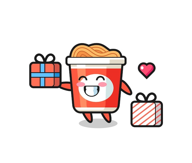 Instant noodle-mascotte-cartoon die het geschenk geeft, schattig stijlontwerp voor t-shirt, sticker, logo-element