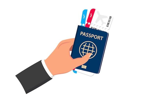 Instapkaart plat ontwerp. paspoort met vliegtickets. het concept van luchtvervoer, internationaal toerisme. reispaspoort met vliegtickets. toerisme en reizen per vliegtuig