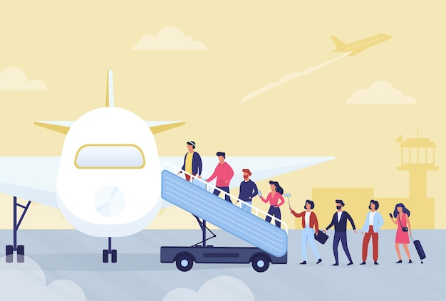 Instappen in vliegtuig concept. mensen wachten in de rij