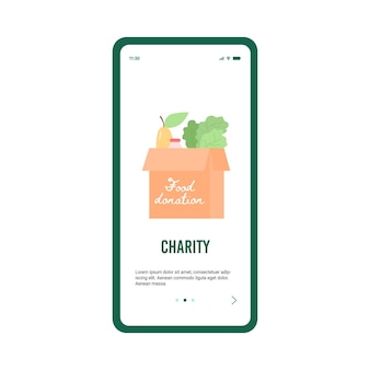 Instapscherm voor donatie en liefdadigheid platte cartoon vectorillustratie