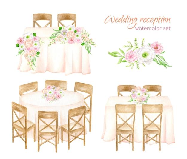 Instellen. aquarel hoofdtafel, bankettafels met bloemboeketten